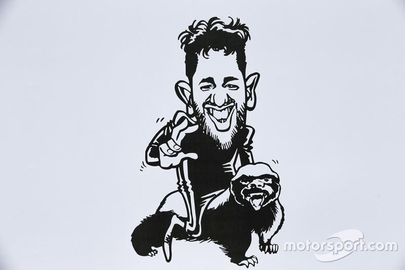 A caricature of Daniel Ricciardo, Red Bull Racing
