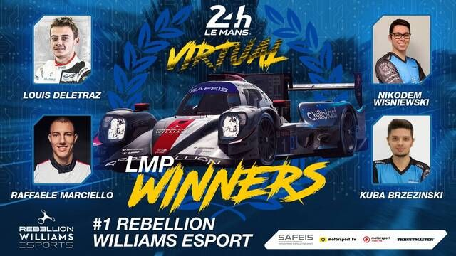 Virtual 24 Ore di Le Mans: l'arrivo dei vincitori della Rebellion Williams