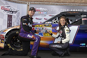 NASCAR Cup Pole sitter, Hamlin, and Toyota drivers talk about Fontana qualifying