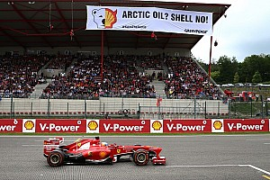 Formula 1 Breaking news Greenpeace protests F1 sponsor Shell at Spa