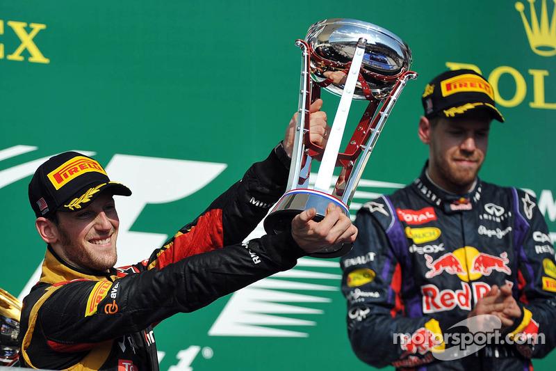 Podium for Lotus' Grosjean in the United States Grand Prix