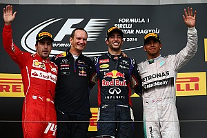 Formula 1 Race report Ricciardo passes Alonso in closing stages to win Hungarian GP