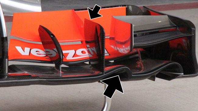 L'ala anteriore McLaren con una doppia curvatura