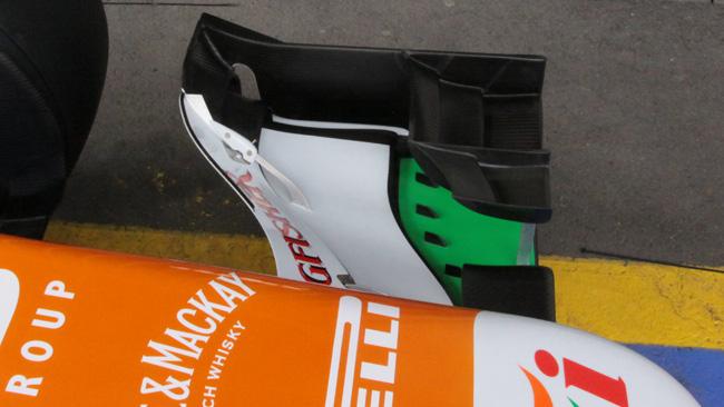 Force India: ecco i vorticatori di flusso sull'ala