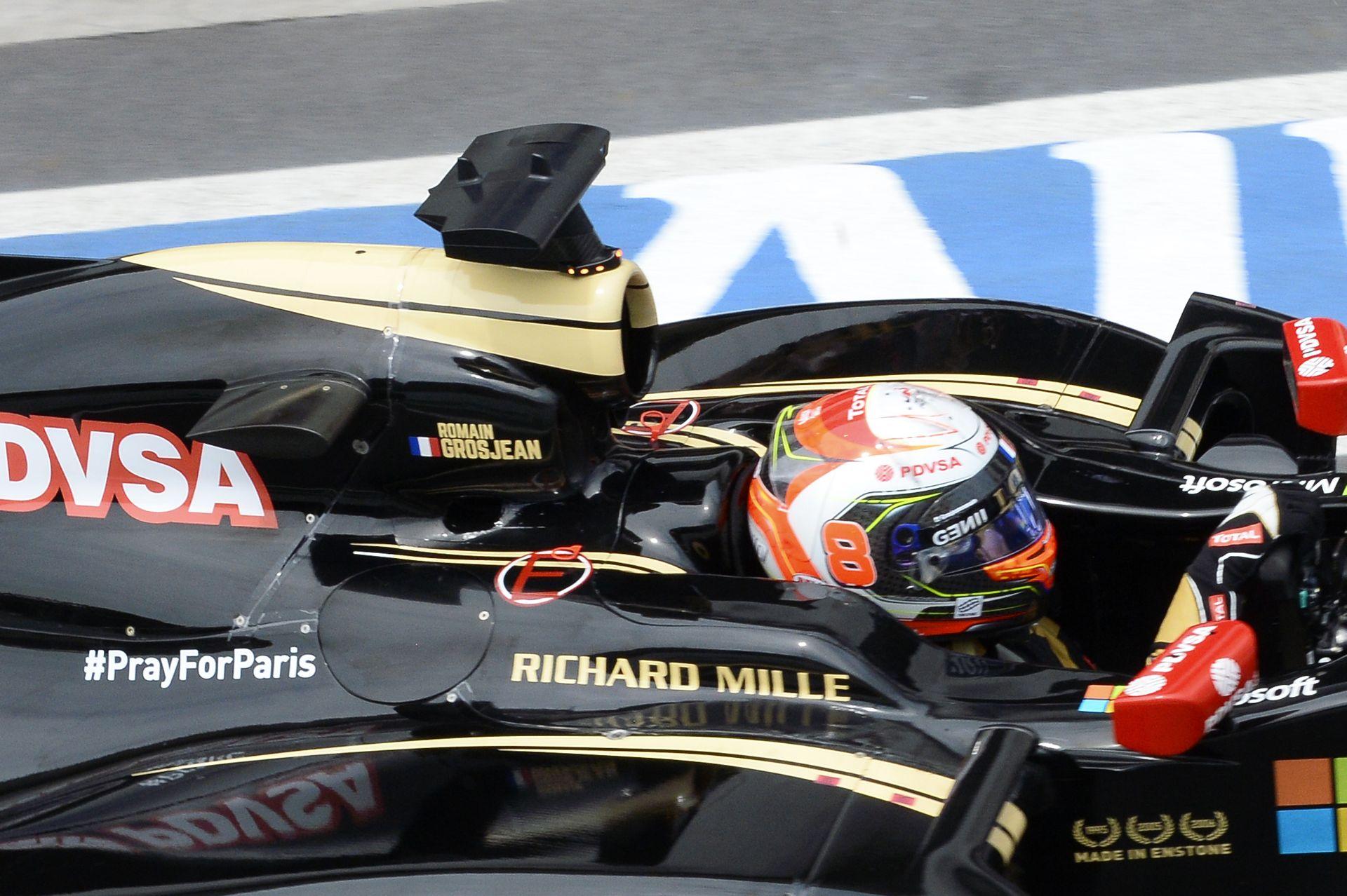 Grosjean a párizsi merénylet áldozatainak egy Forma-1-es futamgyőzelmet ajánlana!
