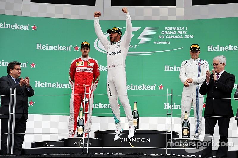 Hamilton wint ook in Canada, Verstappen verslaat Rosberg voor P4