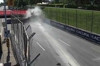 Ilyen csúnyán tud kinézni egy ráfutásos baleset: eszméletlen csattanás az Indy Lightsban