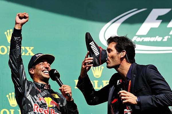 Webber admite que no fue agradable beber de la bota de Ricciardo