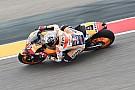 Aragon, Libere 3: Marquez cade, poi fa il miglior tempo. Rossi solo nono