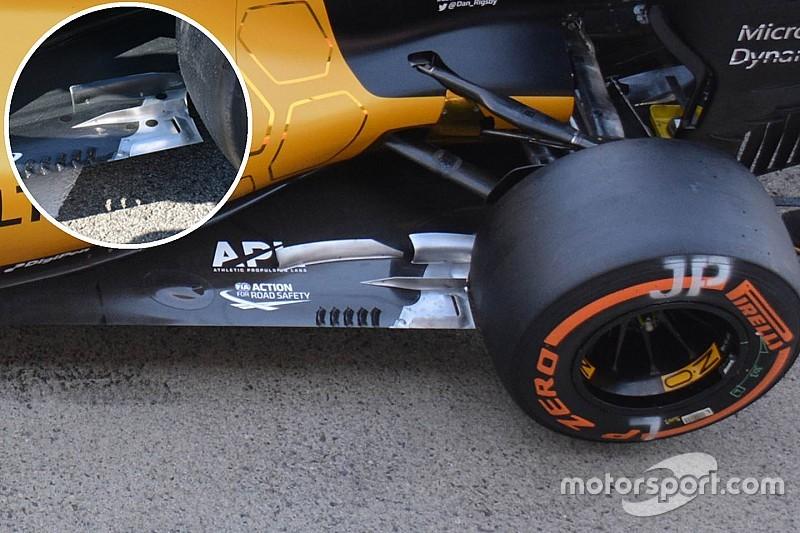 Técnica: fondo plano del Renault RS16 en Japón