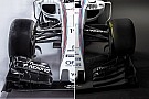 Compare visualmente os carros de 2016 e 2017 da Williams