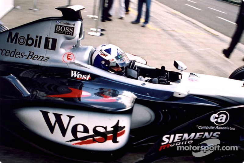 David Coulthard in the pits