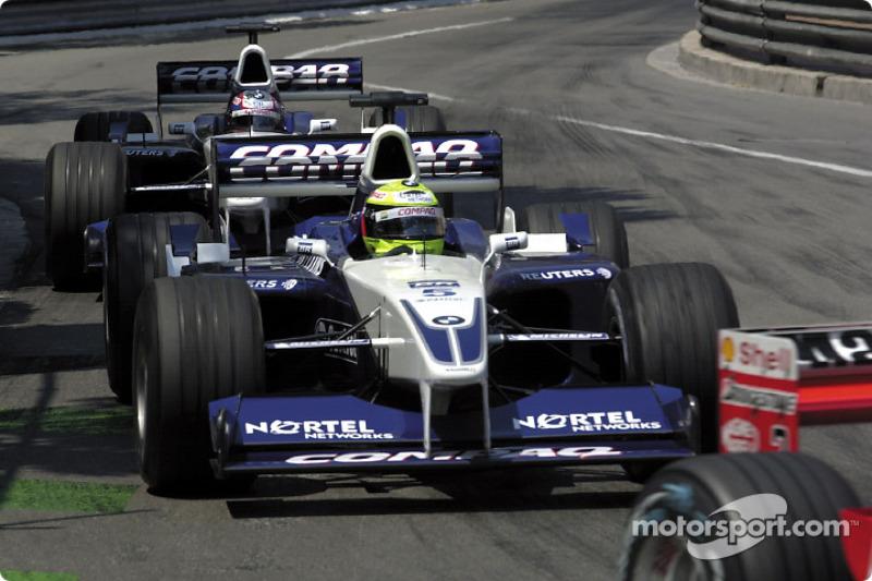 Ralf Schumacher and Juan Pablo Montoya chasing Rubens Barrichello