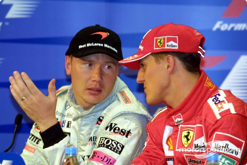 Mika Häkkinen, McLaren; Michael Schumacher, Ferrari
