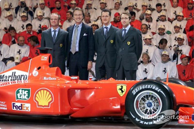 Rubens Barrichello, Luca di Montezemolo, Michael Schumacher and Luca Badoer