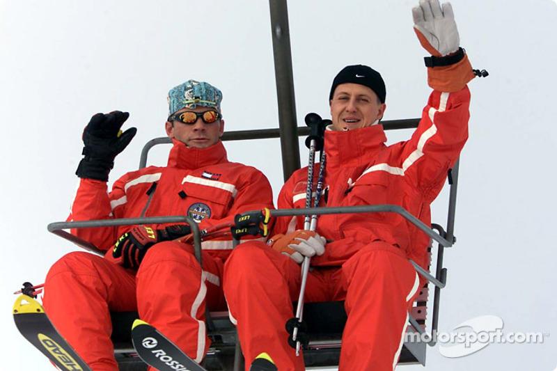 Michael Schumacher during the ski day