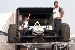 Unloading the Max Papis car