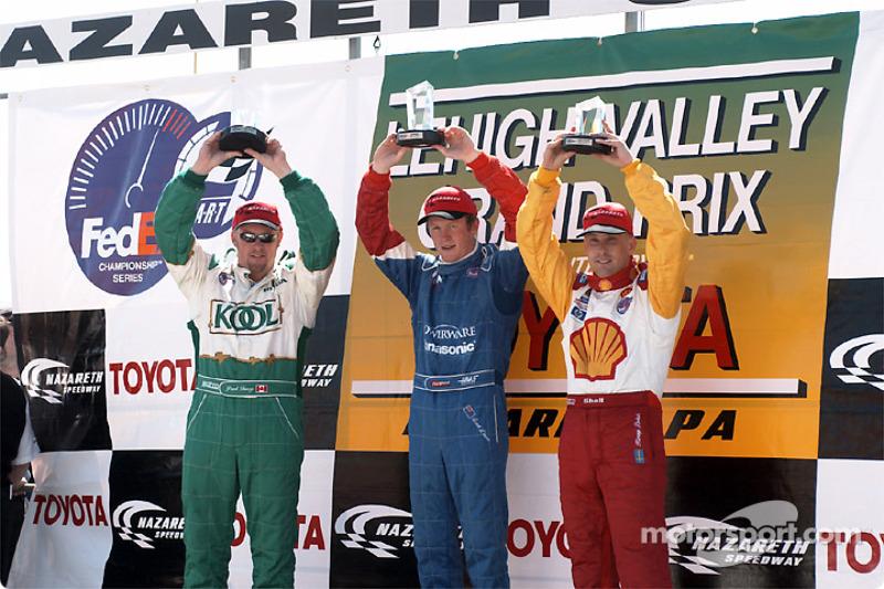 The podium: Paul Tracy, Scott Dixon and Kenny Brack
