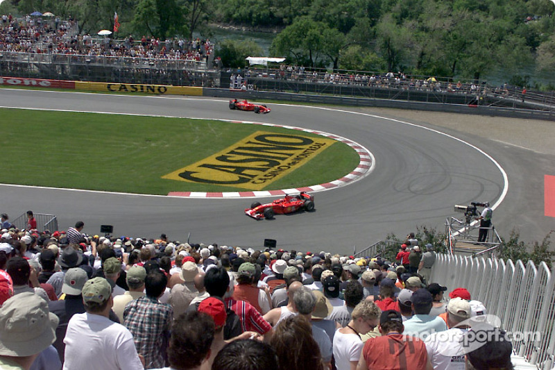 The two Ferraris at the hairpin