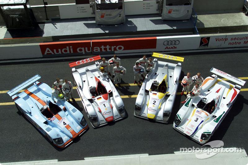 The Audi teams: Johansson Motorsports (#4), Audi Sport Team Joest (#1), Audi Sport North America (#2), Champion Racing (#3)