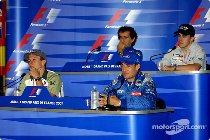 Conferencia de prensa: Olivier Panis, Jean Alesi, Alain Prost y Fernando Alonso