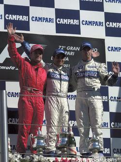 The podium: Rubens Barrichello, Juan Pablo Montoya and Ralf Schumacher