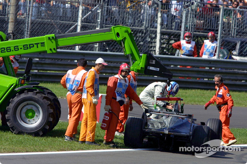 Mika Hakkinen, out of the race
