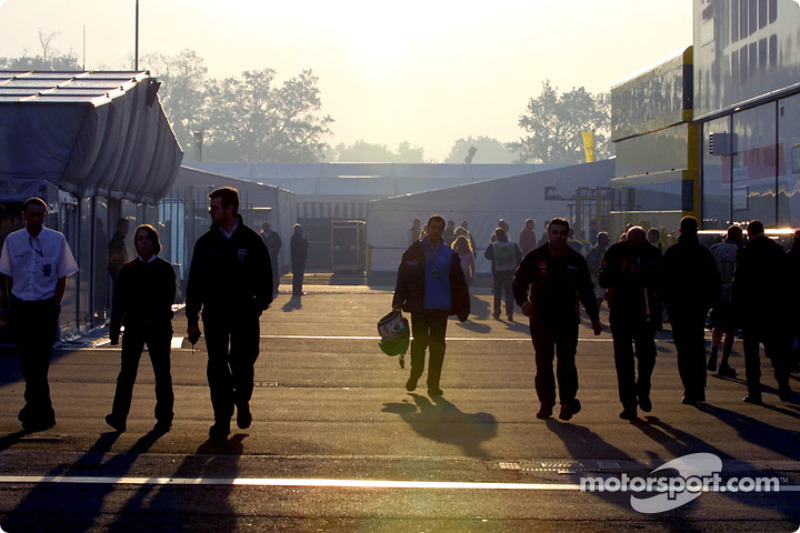 Paddock entrance, early Sunday morning
