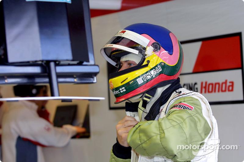 Jacques Villeneuve getting ready for practice
