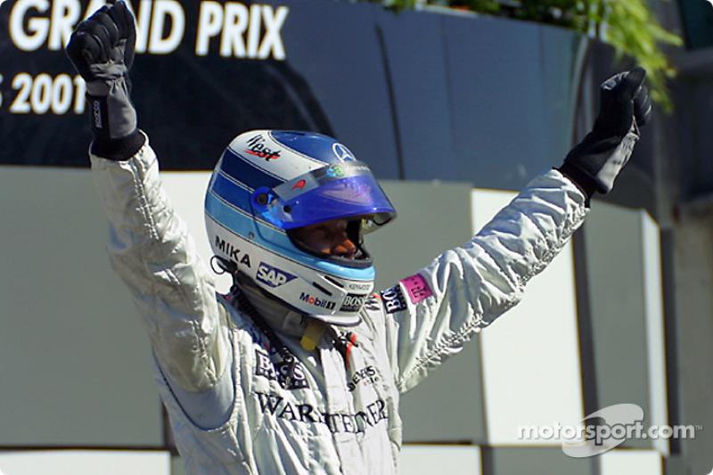 Race winner Mika Hakkinen