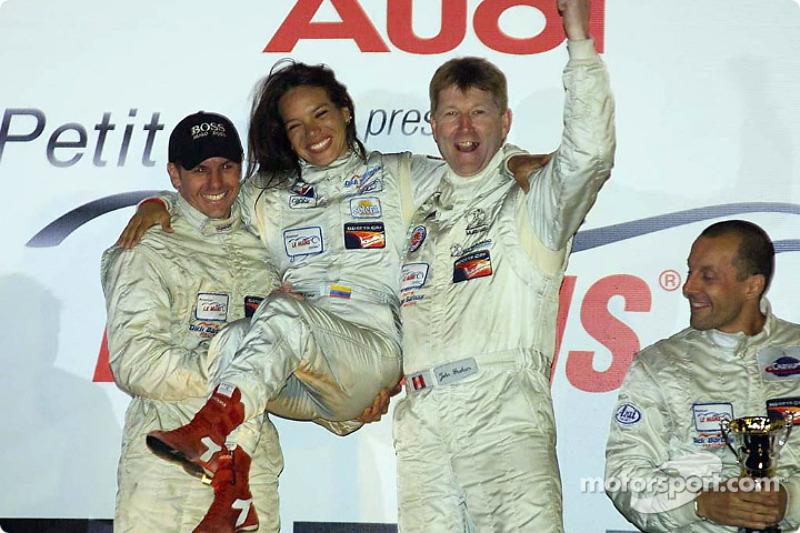 LMP675 podium: Scott Maxwell, Milka Duno and John Graham