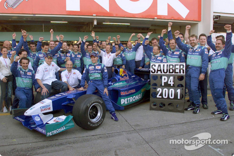 Team Sauber celebrating fourth place at the Constructors Championship