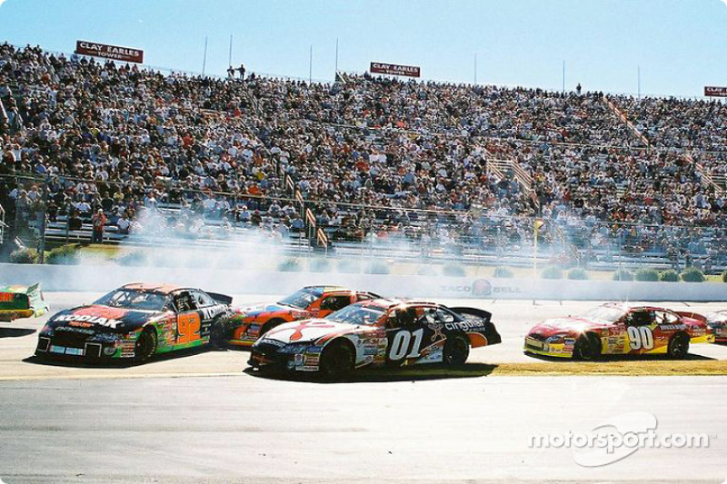 Stacy Compton, Terry Labonte and Jason Leffler trying to avoid the Hermie Sadler