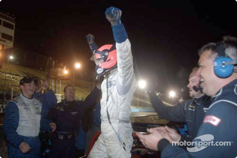 Clint Field cheers as Oliver Gavin exits the Intersport Racing Judd Lola celebrating the team's first victory