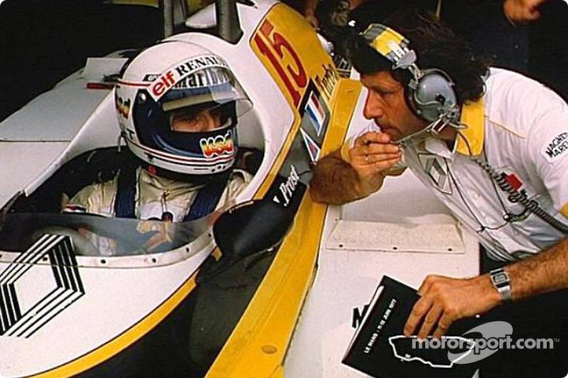 Alain Prost y Bernard Dudot durante una sesión de pruebas