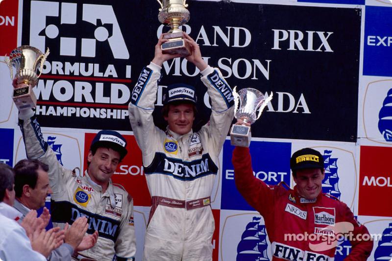 El podio: el ganador Thierry Boutsen con Riccardo Patrese y Andrea de Cesaris