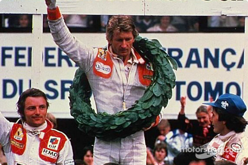 Winner Jean-Pierre Jabouille with René Arnoux and Gilles Villeneuve