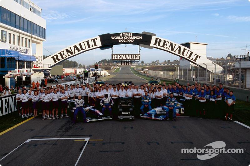Williams and Benetton teams celebrating Renault's six world championship titles: Jacques Villeneuve,