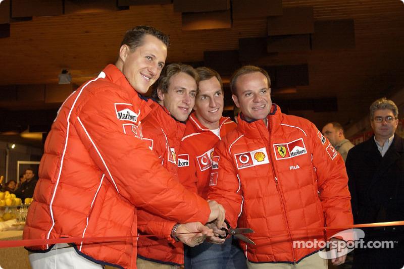 Opening ceremony: Michael Schumacher, Luca Badoer, Luciano Burti and Rubens Barrichello