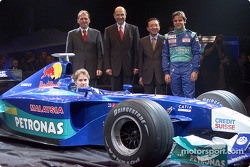 Peter Sauber, Nick Heidfeld and Felipe Massa presenting the new Sauber Petronas C21