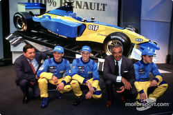 Chief Executive Officer of Renault F1 Patrick Faure, Jarno Trulli, Jenson Button, Flavio Briatore,  Fernando Alonso and the new 2002 Mild Seven Renault F1 R202
