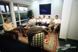Bruno Michel and Flavio Briatore with the young drivers