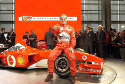 Rubens Barrichello with the new Ferrari F2002