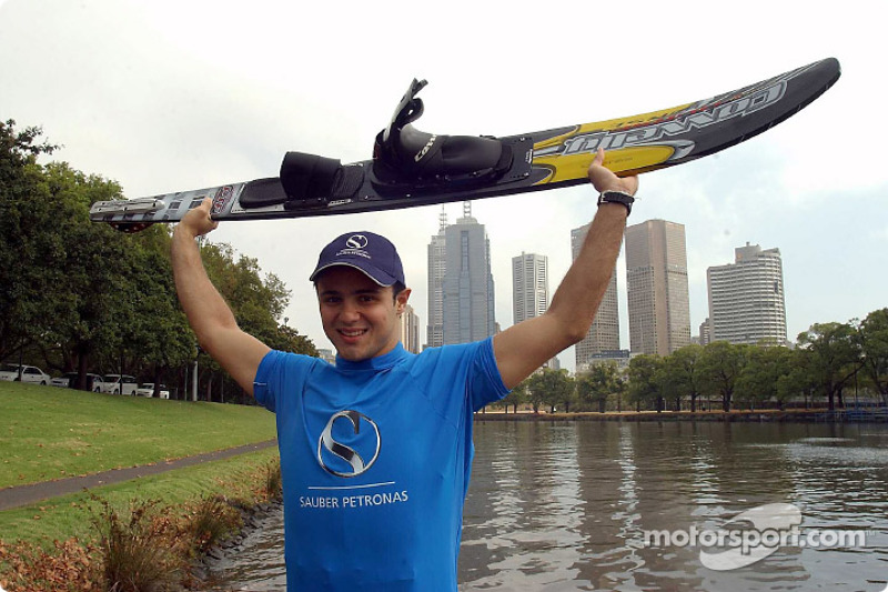 Felipe Massa water skiing on Melbourne's Yarra River