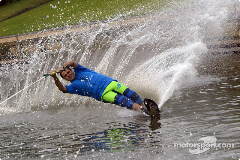 Felipe Massa water skiing on Melbourne's Yarra River