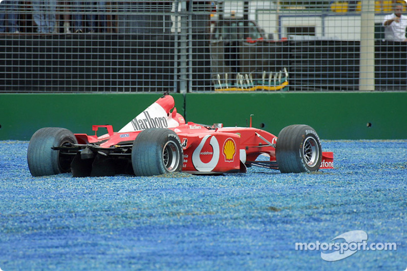 The Ferrari of Rubens Barrichello after the first corner accident