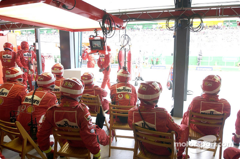 Ferrari garage area during the race