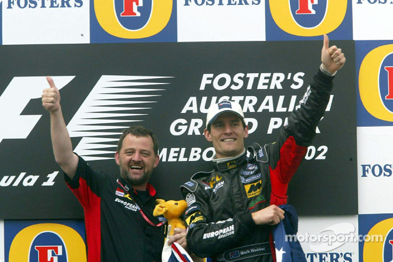 Mark Webber, Paul Stoddart and the boxing kangaroo celebrating