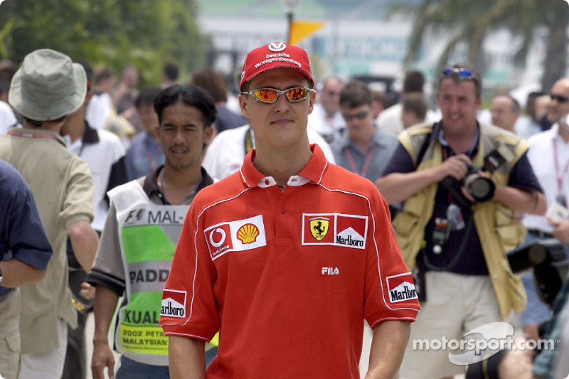 Michael Schumacher arriving at the track