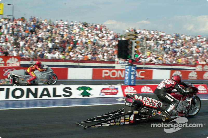 Pro Stock Bike final finds Craig Treble taking the victory over Angelle Savoie